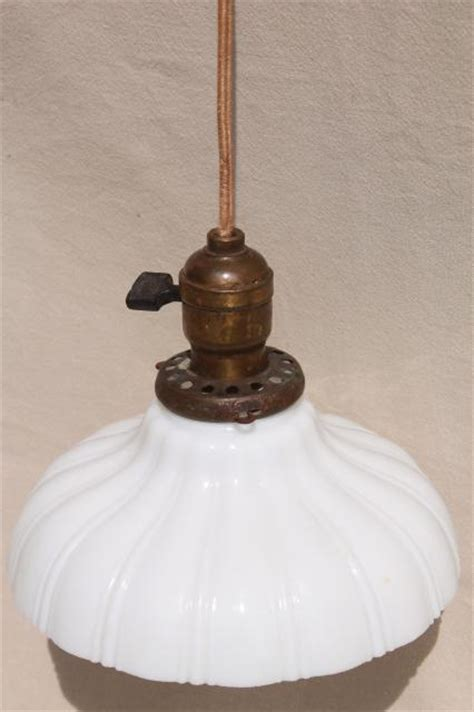 Antique Pendant Light Socket Antique Pendant Light Fixture Industrial Hanging Bulb Socket W Vintage Milk Glass Shade