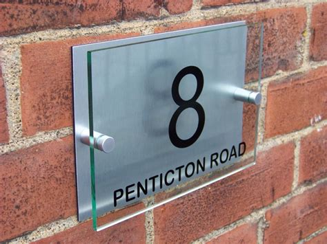 Glass Door Number Signs Modern House Sign Plaque Door Number Glass Effect Acrylic Aluminium F032