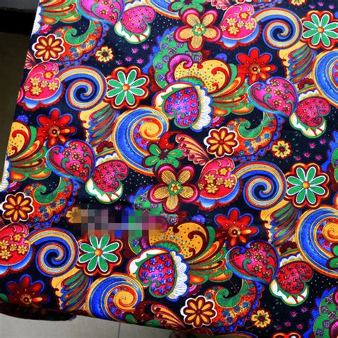 patchwork upholstery fabric 1m canvas sewing material ethnic patchwork cotton