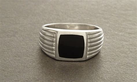 mens silver ring with black 41 ring designs for trends models design trends