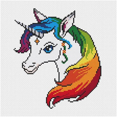 Unicorn Needlepoint Pattern | unicorn cross stitch pattern unicorn modern cross stitch