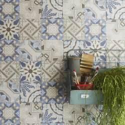 papier peint intiss 233 patch de mosaique bleu leroy merlin