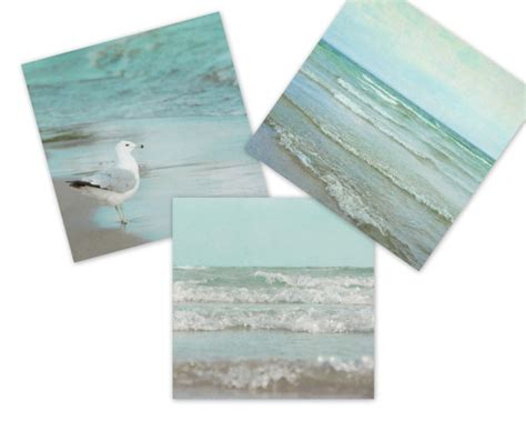 mint green bathroom decor square three print set