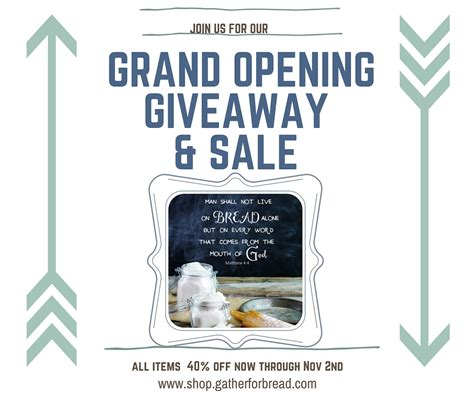 Grand Opening Giveaway - gather for bread shop is now open for business