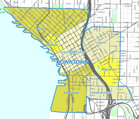 seattle map neighborhoods downtown seattle map my
