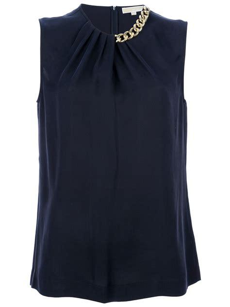 Blouse Navy michael kors chain detail silk blouse in blue navy lyst
