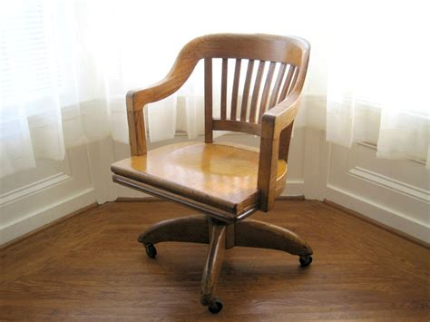 vintage oak swivel office chair gunlocke by goldendaysantiques