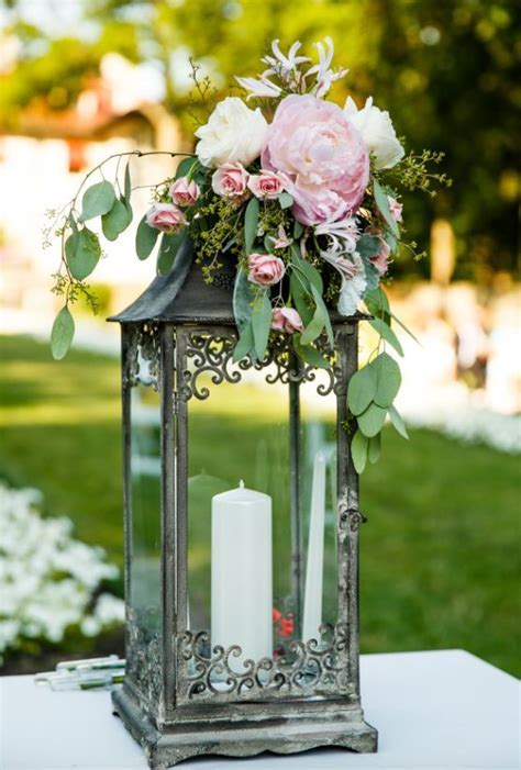 Flower Topped Lantern Wedding Reception Centepiece