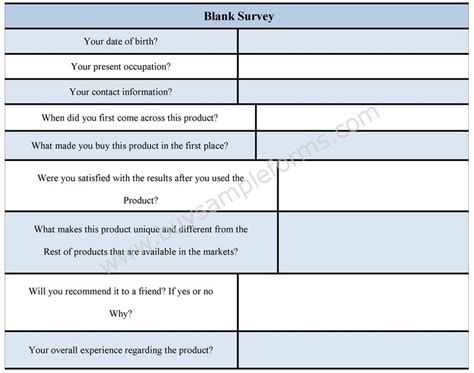 blank survey form blank survey template sle