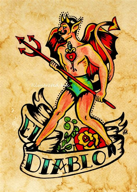 tattoo old school artist old school tattoo devil art el diablo loteria print 5 x 7 8 x