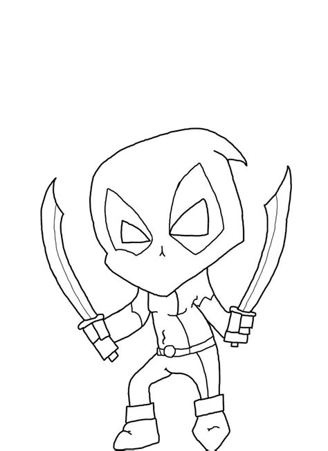 chibi deadpool outline by jayking52 on deviantart