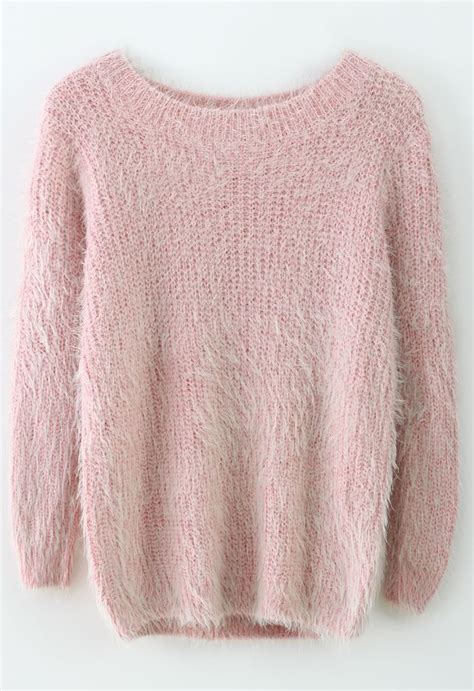 basic fluffy sweater in pink live fashionably pastel everyday look and