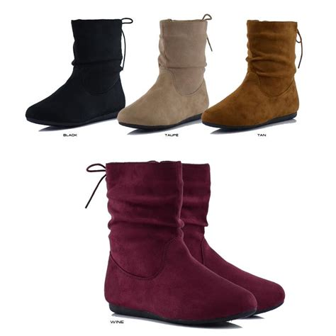 new faux suede slouchy zipper flat heel ankle boot
