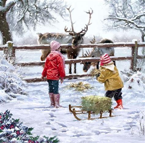 feeding reindeer fine art print   macneil studio