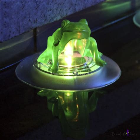 Color Changing 5 Wide Frog Led Solar Power Decorative Solar Frog Light
