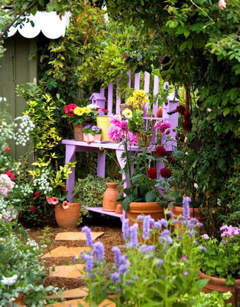 Pretty Garden Ideas Pretty Purple Diy Potting Bench Pictures Photos And