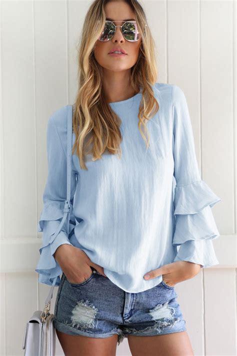 light blue slit  layered ruffled long sleeve chic