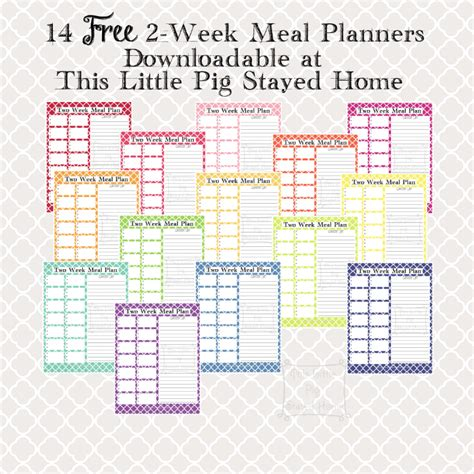 two week meal planners