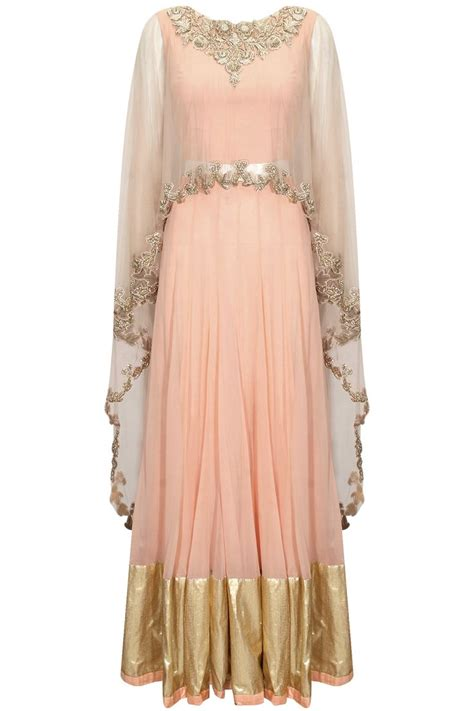 design a cape pink embroidered asymmetric cape blouse with gold border