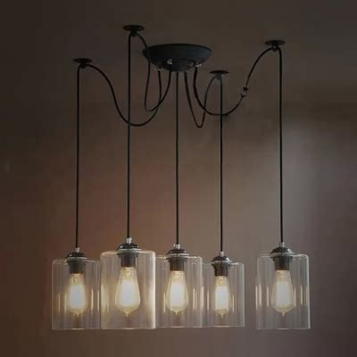 multi glass pendant lights cylinder clear glass five light pendant in industrial style
