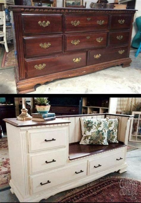 dresser into bench diy old dresser into a gorgeous bench with storage drawers