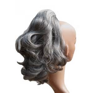 grey hair drawstring ponytail sweet short curly pony tail hair extension claw grip