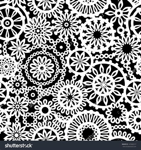 geometric patterns black and white circle black white geometric crochet circle flowers stock vector