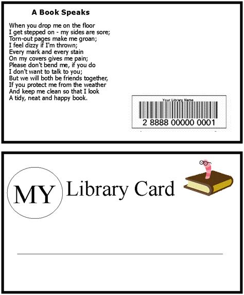 library cards template burnham bunch storytime september ideas