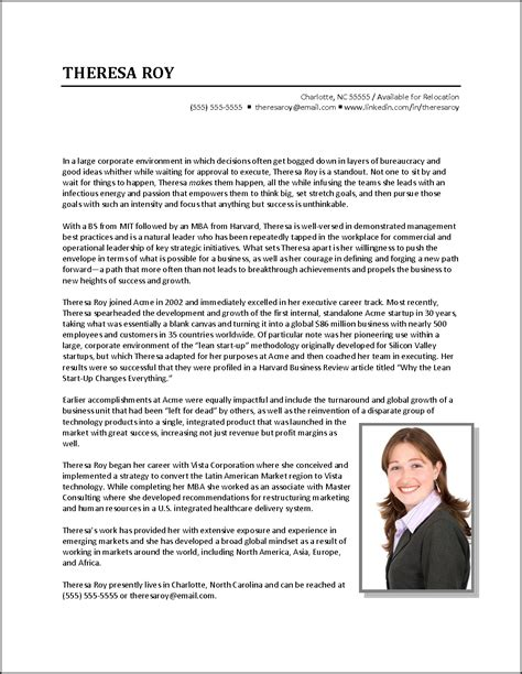 biography exles for cv executive biography exle business development