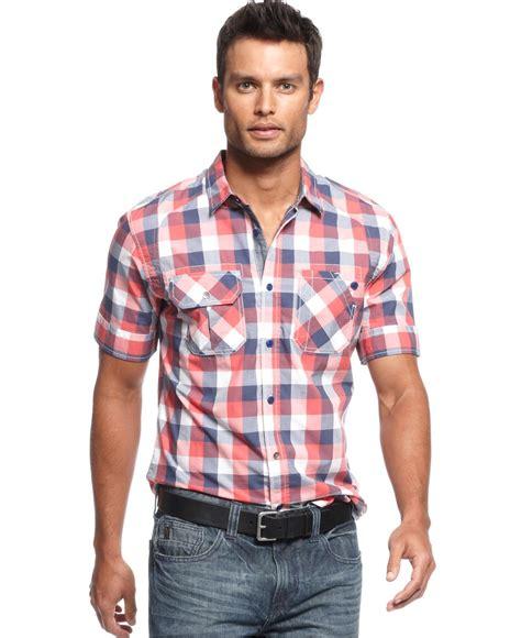 Plaid Casual Shirt marc ecko cut sew shirt sleeve plaid shirt mens
