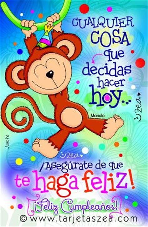 imagenes zea para una amiga tarjeta de cumplea 241 os para estar feliz mono manolo colgado
