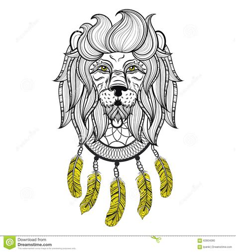 vector ornamental lion with dreamcatcher ethnic patterned