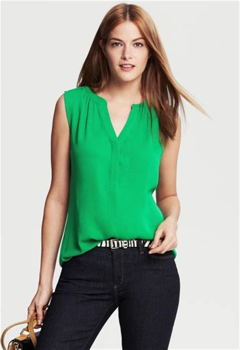 Emeral Top banana republic shirred sleeveless top emerald in green emerald lyst