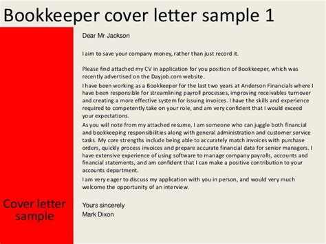 cover letter for bookkeeper position bookkeeper cover letter