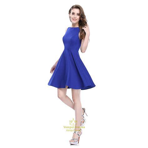 Dress Fit L Pl royal blue sleeveless scoop neck fit and flare skater dress val dresses