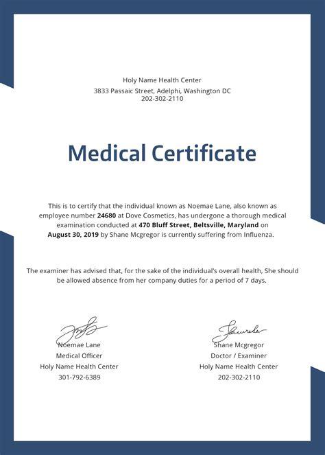 sample medical certificate download documents pdf word fake