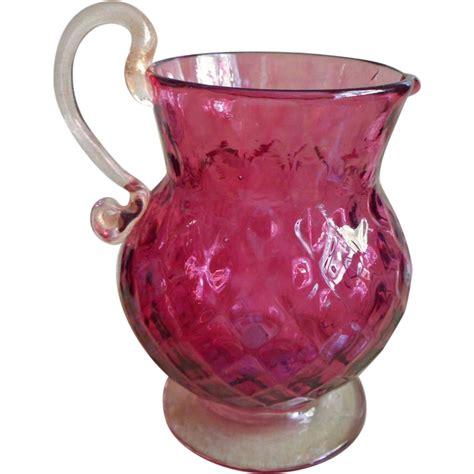 Fenton Cranberry Glass Vase by Fenton Cranberry Glass Pitcher Vase Vintage