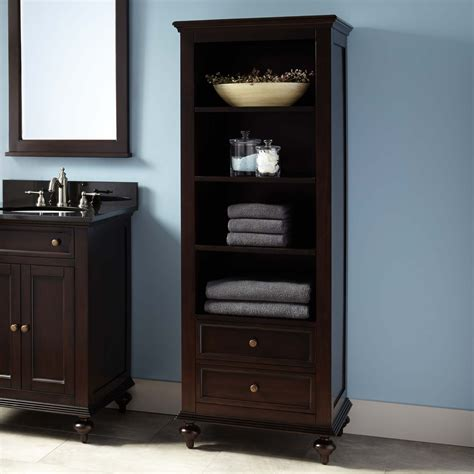 Bathroom Cabinet With Shelves Keller Mahogany Linen Storage Cabinet Espresso Bathroom
