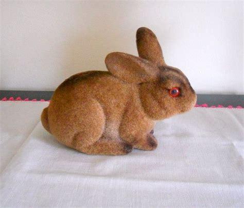 Flocked Easter Bunny Rabbit Antique - vintage flocked rabbit bank easter bunny home decor