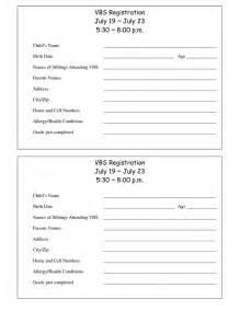 registration cards template printable vbs registration form template conference