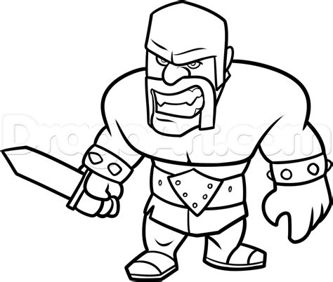 barbarian king coloring pages draw clash of clans barbarian step by step drawing
