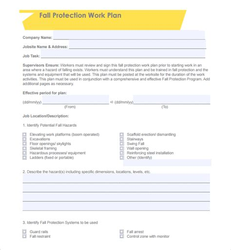 written plan template sle fall protection plan template 9 free documents