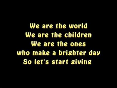 testo we are the world lyrics michael jackson we are the world