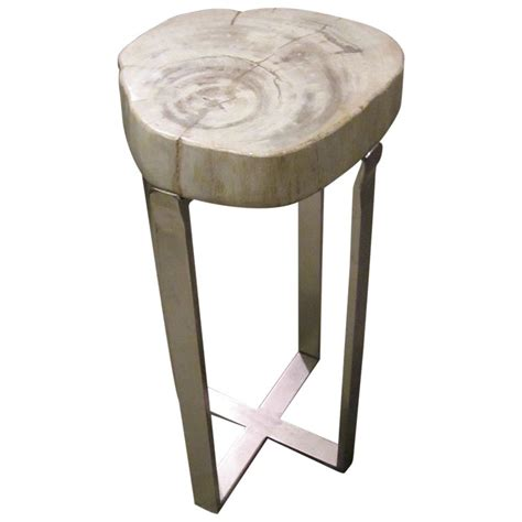 tiny side table petrified wood small side table at 1stdibs