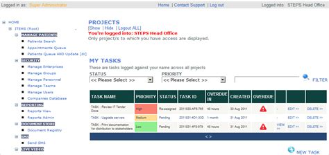 workflow task list screen images steps