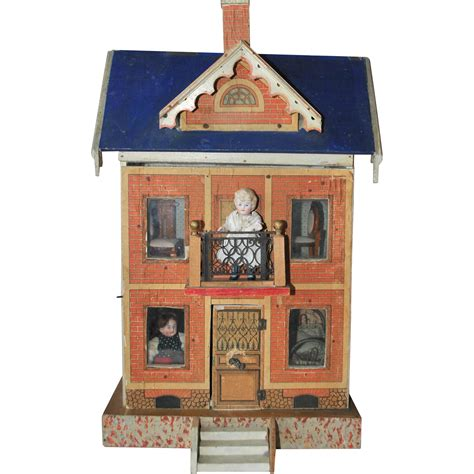 antique dolls house blue roof rare antique gottschalk doll house 1890 1900 from luisa27 on ruby lane