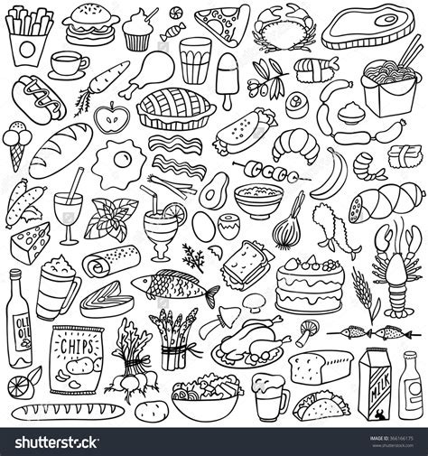 doodle food vector free food doodles set eat doodles bullet and