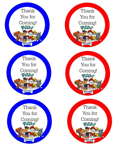 printable thank you cards paw patrol paw patrol free thank you labels baby boy bday