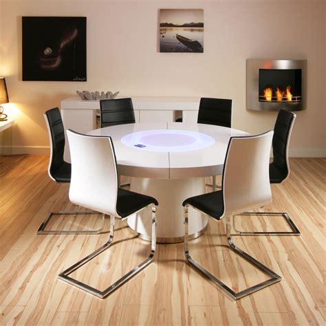 large round white gloss dining table amp 6 white black