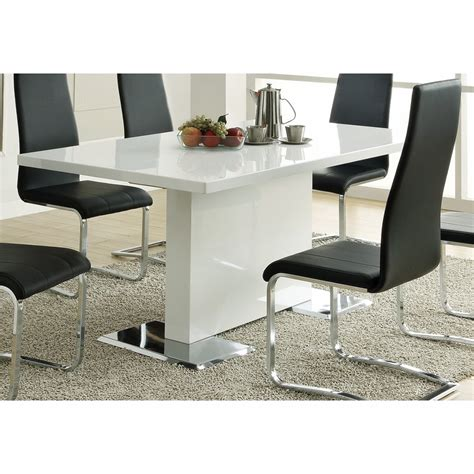 coaster dining table coaster dining table glossy white 102310